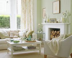 Creamy White Living Room With Accents Of Very Light Green And Blue - Light colored living rooms