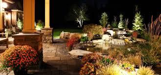 backyard landscape with fire water u0026 light