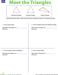 three types of triangles worksheet education com