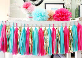 turquoise pink gold tissue paper tassel garland