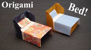 how to make a doll house bed with bedding origami paper craft