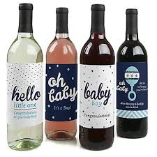 silver wine bottles hello one blue and silver wine bottle labels boy baby