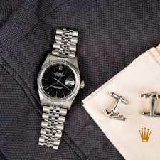 rolex print ads datejust steel 16030 black