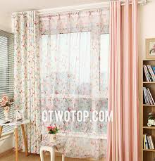 affordable country butterfly aqua peach pink kids curtains
