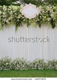 wedding backdrop green beautiful white green backdrop flowers arrangement stock photo