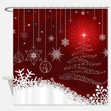 Snowflake Curtains Christmas Christmas Tree Shower Curtains Cafepress
