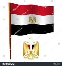 Image Of Flag Of Egypt Egypt Wavy Flag Coat Arms Against Stock Vector 137454512