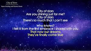 Star Light Star Bright Lyrics City Of Stars Ryan Gosling And Emma Stone Lyrics La La Land