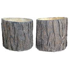 good quality and well rendered pair of french faux bois concrete