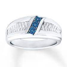Blue Diamond Wedding Rings by Kay Men U0027s Wedding Ring Blue Diamond Accents Sterling Silver