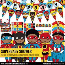 Batman Baby Shower Decorations African American Superhero Baby Shower Decorations Package