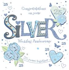 25 wedding anniversary handmade silver 25th wedding anniversary greeting card cards