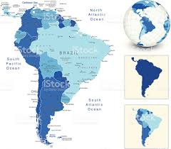 south america map with blue globe and country outlines stock