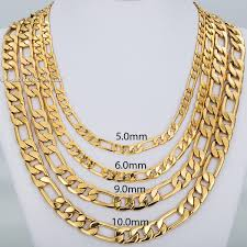 figaro mens necklace images 9 5mm 20 inches men 39 s figaro link chain 18k gold filled necklace jpg