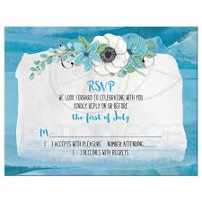 Wedding Invitation Reply Card Anemone Watercolor Wedding Rsvp Card Blue Green Floral