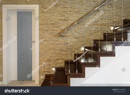 wooden stairway brick wall luxury anteroom stock photo 292907084