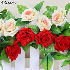 Home Floral Decor Artificial Garland Silk Flower Vine Home Wedding Garden