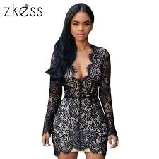 black lace dress zkess sleeve black lace dress women bodycon slim open