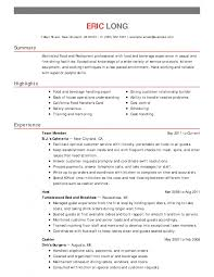 Front Desk Hotel Resume Bar Resume Examples Hospitality Sample Entry Level Food Restaurant