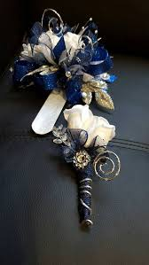 prom wrist corsage ideas custom order prom royal blue and silver cobalt blue prom corsage