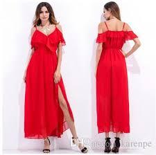 casual dresses for women strap summer off shoulder beach chiffon