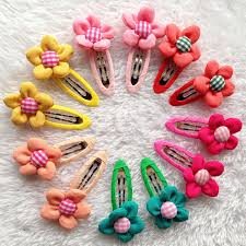 kids hair accessories 20pcs lot colorful 3d sun flowers with bb baby hairpin