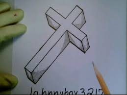 how to draw a 3d cross crucifix step by step easy for beginners