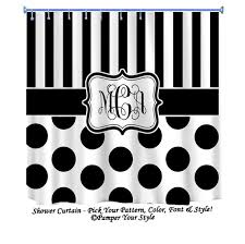 Grey And White Polka Dot Curtains Stripe And Polka Dot Custom Shower Curtain Custom Decor Black