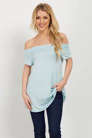 light blue off the shoulder top light blue off shoulder short sleeve maternity top