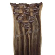 Yaki Clip In Human Hair Extensions by 15 Inch 4 27 Brown Blonde Clip In Human Hair Extensions 10pcs
