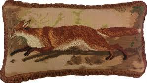 running fox needlepoint pillow