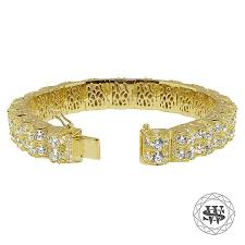 diamond bracelet silver images Premium 925 sterling silver yellow gold finish 2 row 3d diamond jpg