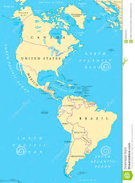 the americas map the americas and south america political map stock vector