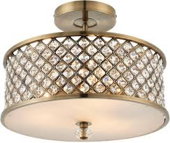 Brass Ceiling Light Fittings by Hudson Antique Brass Semi Flush Crystal Drum 3 Light Fitting 70558