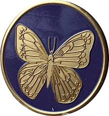 purple bronze butterfly sobriety medallion with serenity prayer on