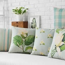 light blue pillow cases wholesales linen pillow cover flower cushion cover vintage light
