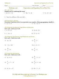 expressions and equations test mathops