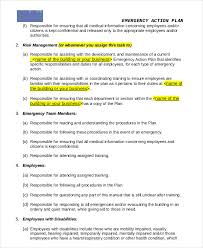 sample training manual general business emergency action plan