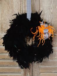 how to make a halloween feather wreath hgtv