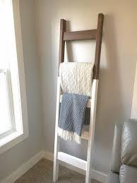 Blanket Ladder Modern Quilt Ladder White Dark Walnut 6 Foot