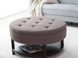 coffee table upholstered cocktail ottoman round tufted ottoman