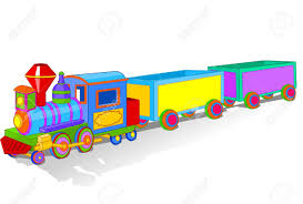 illustration of beautiful multi colored toy train royalty free