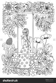 zentangle with kitten on swing coloring page coloring