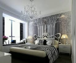 Decorating With Wallpaper by Bedroom Brown Matresses Brown Pillows Bedsides Lamps White Desk