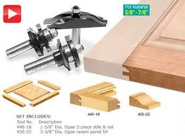 Wainscoting Router Bits 3 Piece Ogee Raised Panel Set 1 2