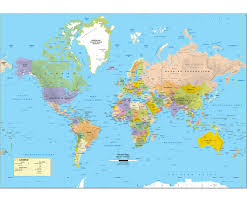 United States Map With Oceans by Economy Intermediate U S U0026 World Political Classroom Map