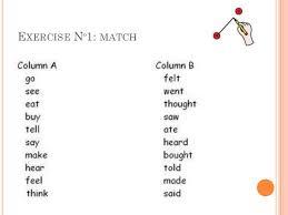 simple past tense regular and irregular verbs