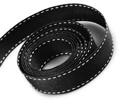black grosgrain ribbon trimplace 5 8 inch black grosgrain ribbon with white stitching