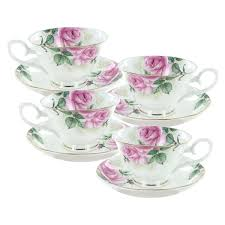 porcelaine bone china rose bouquet bone china cup and saucer set of 4