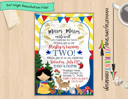 snow white invitation disney princess birthday invites snow
